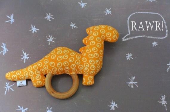 Stuffed Teething Rattle - Orange Stuffed Dinosaur