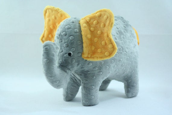 Stuffed Elephant Toy -Gray and Golden Yellow Minky Plush Elephant
