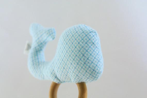 Soft Rattle Teething - Blue Plaid Stuffed Whale