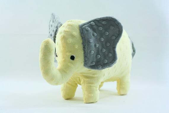 Stuffed Elephant Toy -Gray and Yellow Minky Plush Elephant