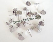 24 Stainless Steel 8mm Earring Posts and Backs - 10.4mm Long