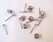 Nickel Free 100 Pieces Titanium 4mm Earring Posts and Backs - 11.5mm Long