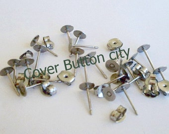 24 Stainless Steel 5mm Earring Posts and Backs - 10.4mm Long