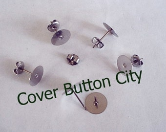 Nickel Free 48 Titanium 10mm Earring Posts and Backs - 11.5mm Long