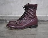 men's vintage Justin boots, burgundy leather, size 10.5, 44.5