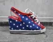 vintage shoes, 1980's American USA flag printed peep toe platform wedge,stars and stripes,  size 6.5, 37