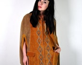 vintage jacket, 1970's bohemian mustard and tan suede harlequin cape, zip up