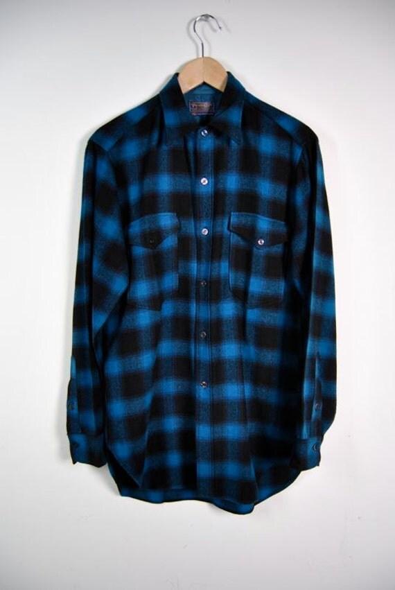 Mens vintage shirt pendleton flannel plaid by youngandukraine for Mens wool flannel shirt
