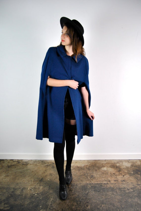 1960's blue cape with peter pan collar, small - medium