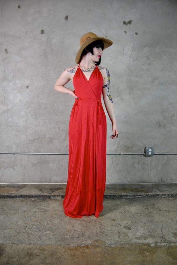 1970's maxi dress, halter, empire waist, long, draped, Joy Stevens, coral, pink, salmon, small