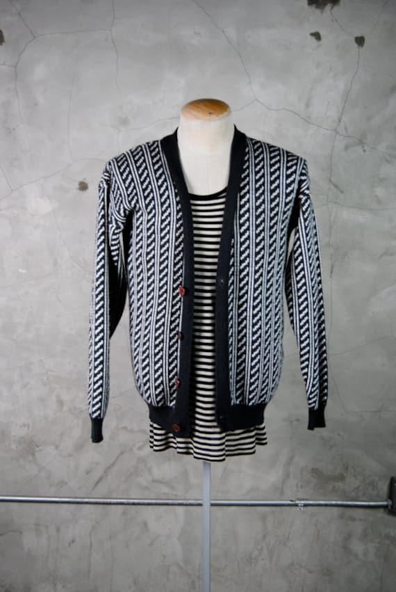 men's vintage cardigan, 1980's grey and white geometric striped knit, medium