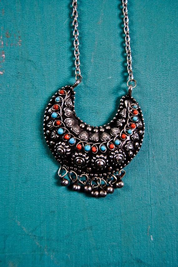 1990's bohemian tribal necklace, gypsy, ethnic