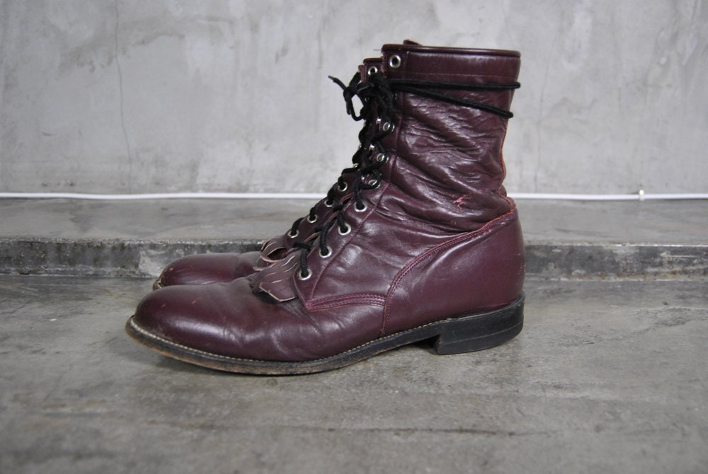 s vintage justin boots burgundy leather by youngandukraine