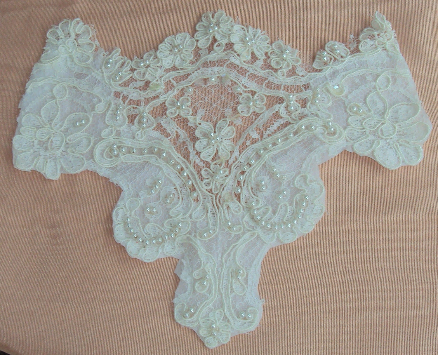 White Alencon Lace Applique with pearls and sequins
