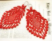 lace earrings -VERONICA- red