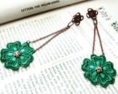 lace earrings - SHELLY- emerald green