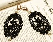 black lace earrings -CANDICE- black