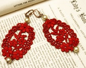 lace earrings -CANDICE- lipstick red