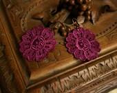 lace earrings -MEAGAN- purple magenta