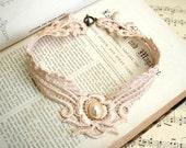 lace necklace -DEBORAH- vintage blush