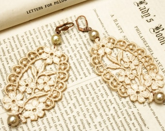 lace earrings -CANDICE- ecru