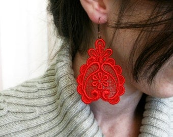 red lace earrings -DARLA- red