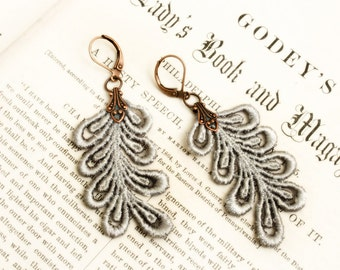 lace earrings -LEANNE- silver gray