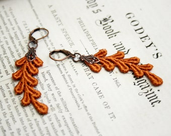 lace earrings -AHNYA- terra cotta