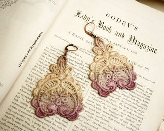 ombre earrings - lace earrings -DARLA- ombre lavender smoke
