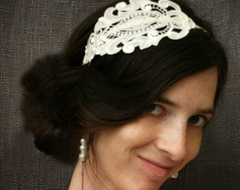 bridal lace headband -GLORIA- softest ivory