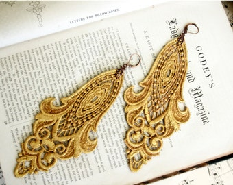 gold lace earrings -LONGORIA- ombre bright gold