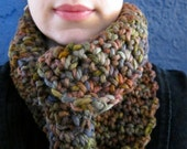 Dark Earth Tones Cowl Scarf, Hand Painted Merino Wool  - Made to Order