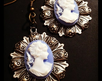 Cameo Victorian Earrings Floral Stamping Dangle Silver and Brass