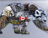 Wooden Handcut Jigsaw Puzzle - Polar Bear shaped Canadian Wildlife Collage