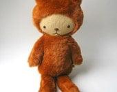 LAST ONE Kawaii Teddy Bear Plushie in Rust Brown Faux Beaver Fur Large BASILE