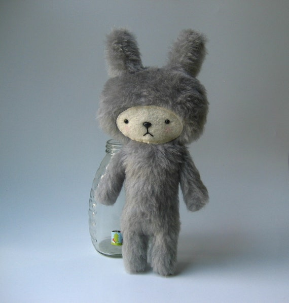 Kawaii Bunny Plushie Gray Faux Fur CLEARANCE OSCAR