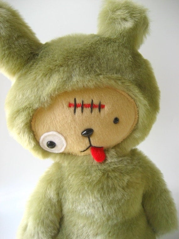 Kawaii ZOMBIE Bunny Rabbit Plushie in Green Faux Beaver Fur Large ZOMBUN Limited Edition