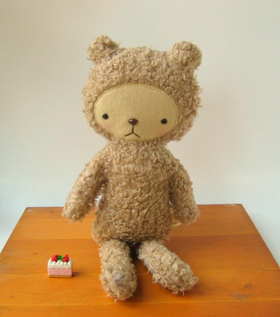 Kawaii Teddy Bear Plushie in Taupe Brown Shag Fur Large REESE