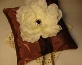 Wedding Ring Bearer Pillow - White Peony on Eggplant Tafetta