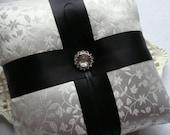 Wedding Ring Bearer Pillow - SALE ITEM- Sparkling Cabuchon on Off White Satin Broacde
