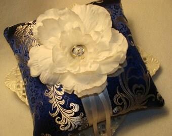 Wedding Ring Bearer Pillow - White Peony on Sapphire Brocade