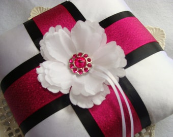 Wedding Ring Bearer Pillow - White Peony on White Satin with Fuscia & Black