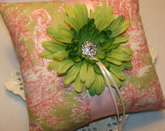 Wedding Ring Bearer Pillow - Lime Gerbera Daisy on Country Toile