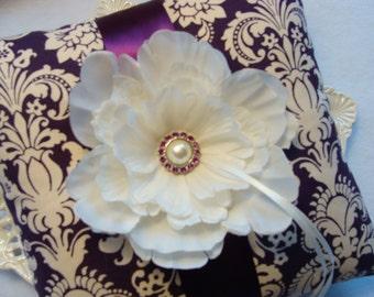 Wedding Ring Bearer Pillow - Ivory Peony on Ivory & Plum Damask