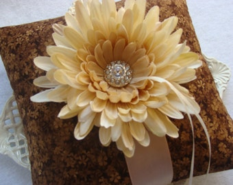 Wedding Ring Bearer Pillow - Ivory Spider Mum on Brown & Champagne