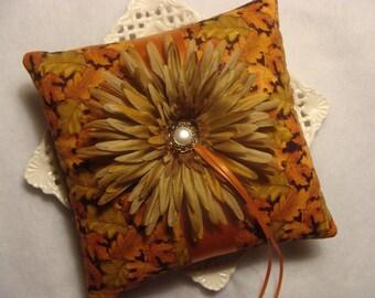 Wedding Ring Bearer Pillow - Moss Green Gerbera Daisy on FALL Leaves & Shimmers