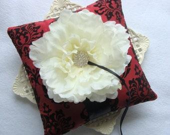 Wedding Ring Bearer Pillow - Off White Peony on Burgundy Damask Tafetta with Black Flocking