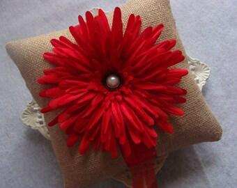 Wedding Ring Bearer Pillow - Red Gerbera Daisy on Burlap