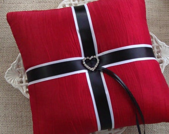 Wedding Ring Bearer Pillow - Crystal Heart Buckle on Red Tafetta - February / Valentines Wedding