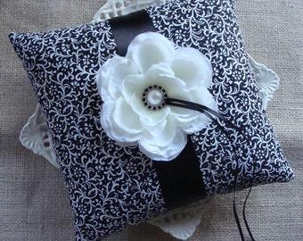 Wedding Ring Bearer Pillow - White Peony on Black & White